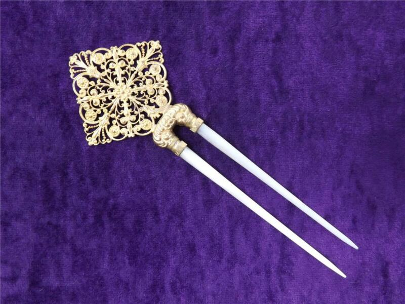 Antique Gilt Brass Lacy Floral Filigree & Mother of Pearl Hair Pin Comb
