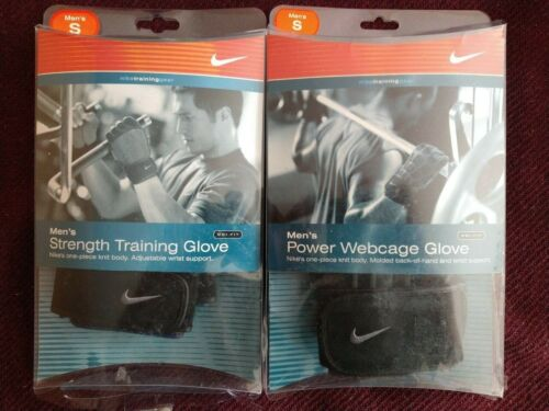 Two Pair Nike Mens Power Webcage & Strength Training Gloves Dri-Fit