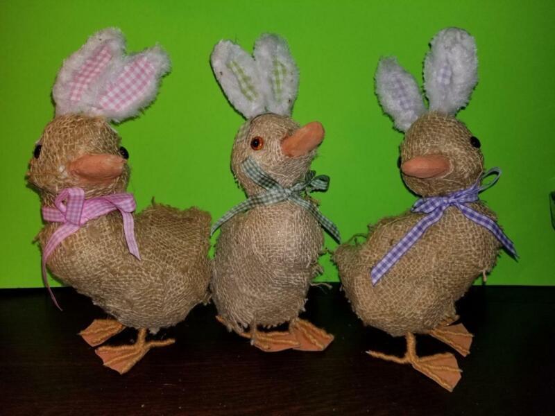 "NEW SET OF 3 11"" FOAM DUCKS WITH EASTER BUNNY EARS IN BURLAP TABLE DECORATIONS"