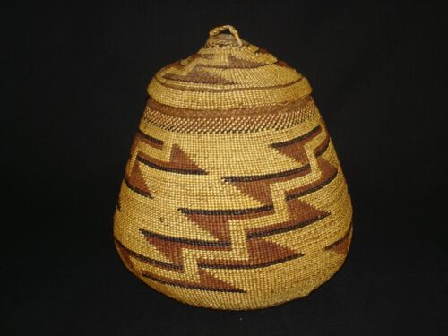 Large  Hupa basket with cover, Native American Indian, circa: 1910