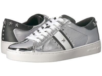 Michael Kors MK Women's Frankie Stripe Leather Sneakers Shoes Silver