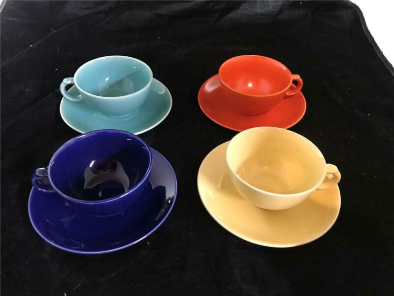 4 Paden City Caliente Cups & Saucers Orange Blue Turquoise Yellow