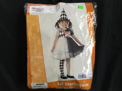 NEW Toddler Girl HARLEQUIN Costume Halloween Dress Court Jester Clown 4 6 mime