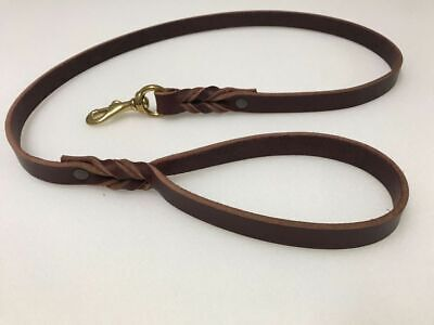 Braided Genuine Leather Dog Leash 6ft long 1/2 or 3/4 inch in Black or Burgundy (Long 3 Leash)