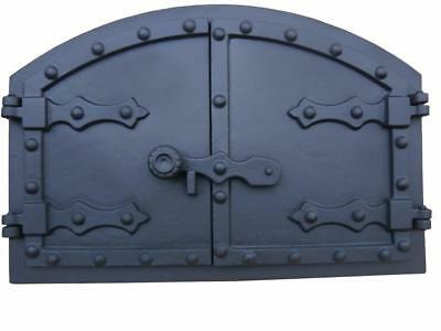 Cast Iron Fire Door Clay Bread Oven Pizza Stove Quality Black (M) 35,2 x 52,5cm