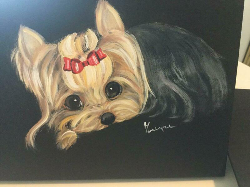 ADORABLE YORKIE RELAXING ORIGINAL PAINTING