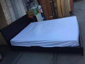Nice black leather queen size bed + used mattress , can delivery Box Hill North Whitehorse Area Preview