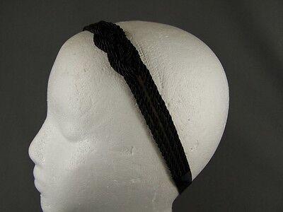 (Black headband rope satin cord knot soft stretch fabric headband)