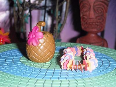 Hawaiin Rainbow Flower Lei Trop Drink fits Fisher Price Loving Family Dollhouse