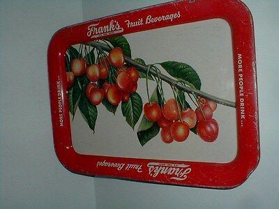Philadelphia FRANK'S Fruit Beverage Soda Pop Tin Metal Advertising Tray 1940s