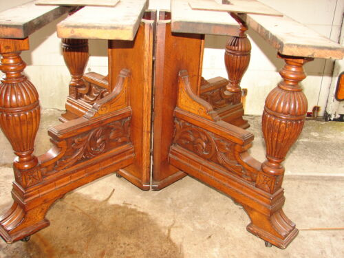 Antique Oak Victorian Carved Large Split Petestal Table Base - GREAT - L@@K