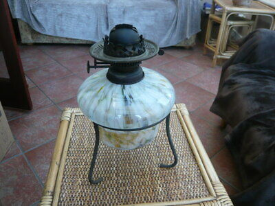 ANTIQUE VINTAGE OLD GLASS & BRASS DROP IN TABLE OIL LAMP WITH STAND EDWARDIAN