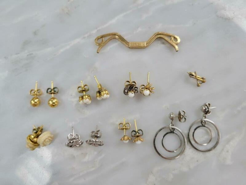 Lot of 9 Gold Filled Earrings And Miscellaneous Items ~ 9.9 g ~ 7-I756