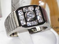 Mens Mans Square And Channel Set Simulated Diamond Platinum Plated Ring M104 - unbranded - ebay.co.uk
