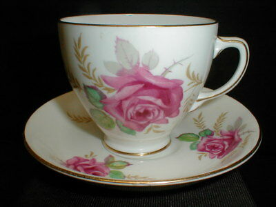 Old Royal Sampson Smith English Bone China Pink Red Rose Cup Saucer England EXC