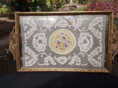VINTAGE FILIGREE PETIT POINT GLASS TRAY IN GOOD CONDITION