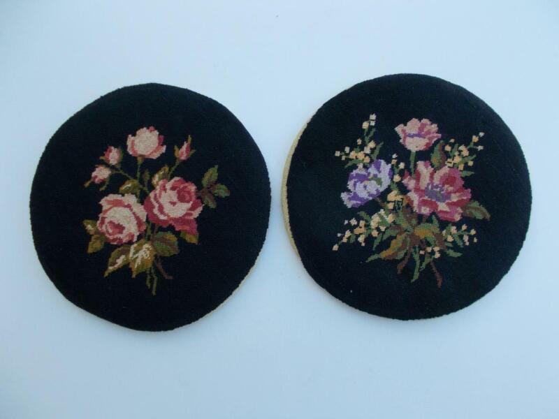 "2 Vintage 7 1/2"" Round Petit Point Floral Pictures Needlepoint Floral Design"