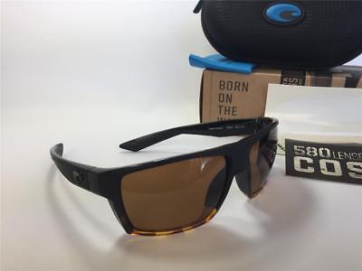 4123fafbe6 New Costa Del Mar BLOKE Polarized Sunglasses Matte Black Tortoise Amber 580P