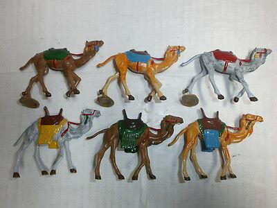 Konvolut 6 Merten Kunststoff Figuren bemalt Kamele für Beduinen 4cm
