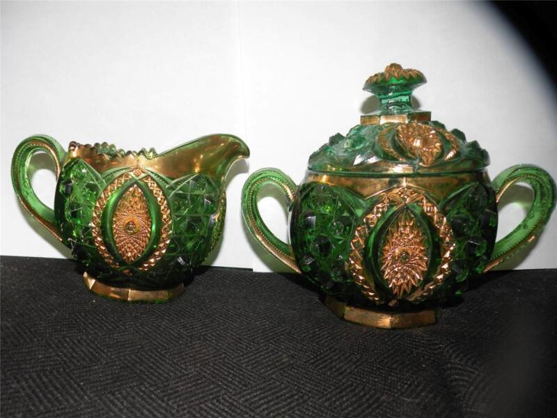 NORTHWOOD MEMPHIS GREEN PATTERN GLASS CREAMER & SUGAR