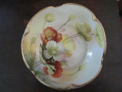 Gorgeous NIPPON Hand Painted Gold Gilded Scalloped Edge Serving Bowl Dish
