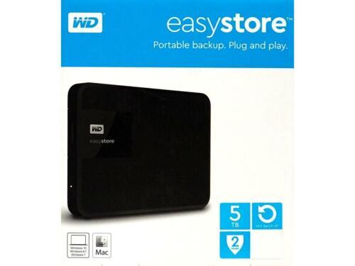BRAND NEW FACTORY SEALED Western Digital EasyStore 5TB External Hard Drive Black