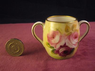Stunning George Jones Crescent China  Miniature Loving Cup  Roses Hand Painted