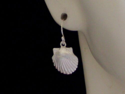 New .925 Sterling Silver Sea Shell Charm French Hook Wire Earrings