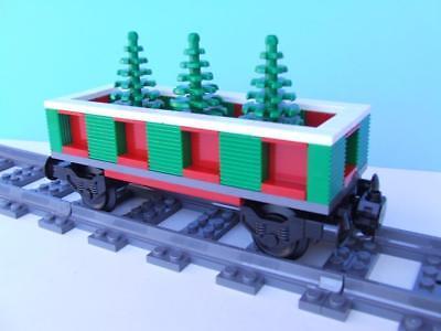 Holiday Christmas Tree Train Built w/ New Lego Bricks fits 9V RC IR Track Sets
