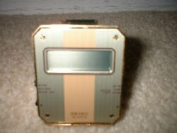 Vintage Mini Seiko Quartz Digital Folding Travel Alarm Clock QEK203F Gold NEW !