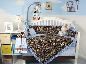 Soft Blue Giraffe Minky Baby Crib Bedding 13 pcs Set included Diaper Bag