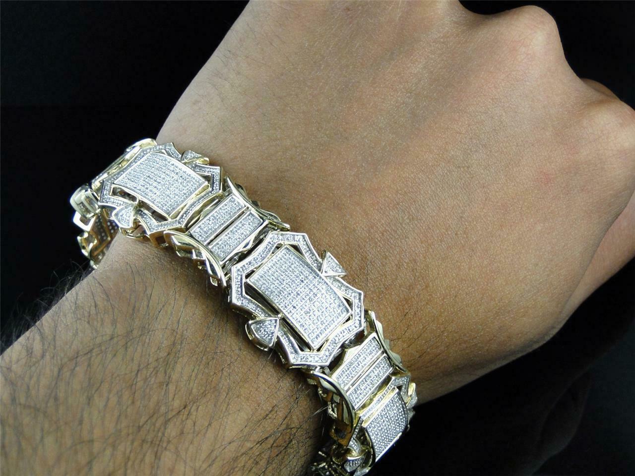 12CT Diamond 14K Men's Yellow Gold Over Engagement Exclusive Tennis Bracelet 5