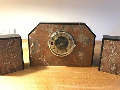 Art Deco 3-Piece Marble Clock Set