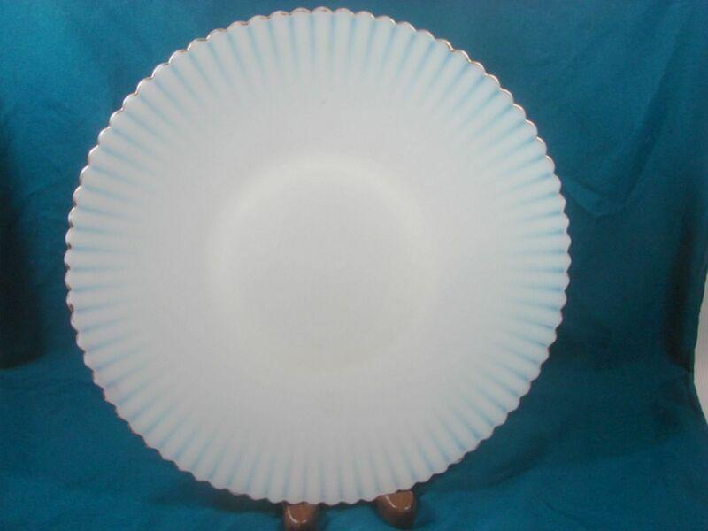 "Macbeth Evans Monax Petalware 10.5"" Opalescent Dinner Plate Salver Gold Trim"