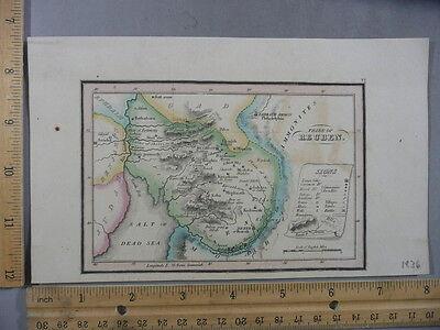 Rare Antique Orig VTG Leavitt Lord & Co. Gad Tribe Of Reuben Map Engraving Print