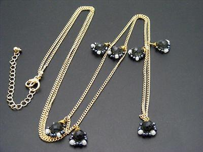 "$18 Nordstrom Black/White/Gray Beaded Station Necklace Goldtone Chain 41"" Long"