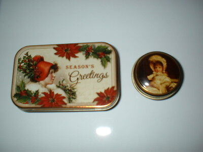 TWO CUTE LITTLE TINS - VINTAGE STYLE WITH ONE BEING A CHRISTMAS TIN