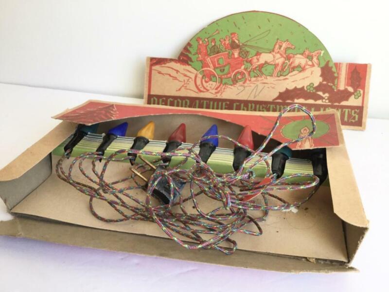 VINTAGE 1930s RELIANCE c6 STRING  STAGECOACH BOX DECORATIVE CHRISTMAS LIGHTS