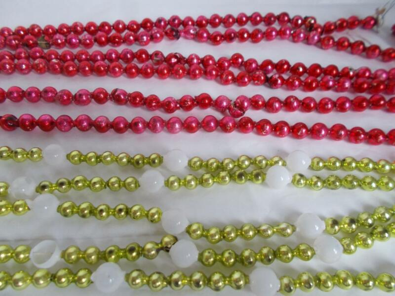 "2 MERCURY GLASS BEAD GARLANDS 169"" Christmas ornament FEATHER TREE glass vtg lot"