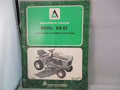 1979 Allis-chalmers Lawn And Garden Tractor Model 816 Gt Operators Manual