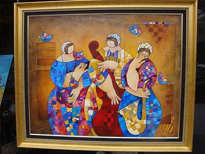 SUMMER CLEARANCE! $32000 DORIT LEVI XLG DLX OIL PAINTING MUSIC DANCE TRIO 24KT