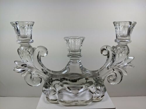 Vintage Heavy Cambridge Caprice Clear Candlestick 3 light holder Candelabra MINT