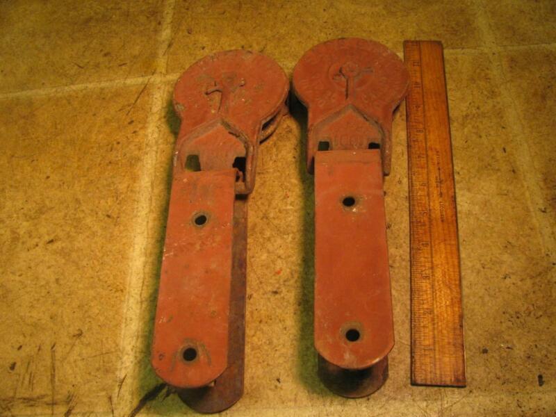 Vintage Pair Sure Grip Cast Iron Barn Door Rollers Hangers