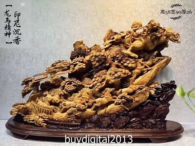 90CM Indonesia Agarwood zodiac Handwork Animal Dragon Horse auspicious sculpture