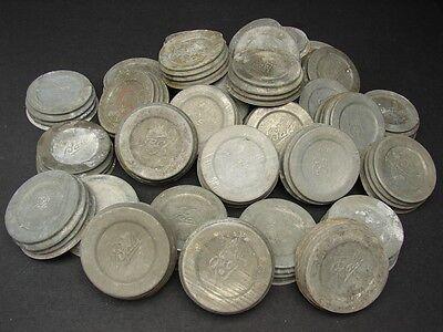 (1) Vintage Ball Mason Jar Zinc Lid Top w/ Porcelain Insert Quantities Available
