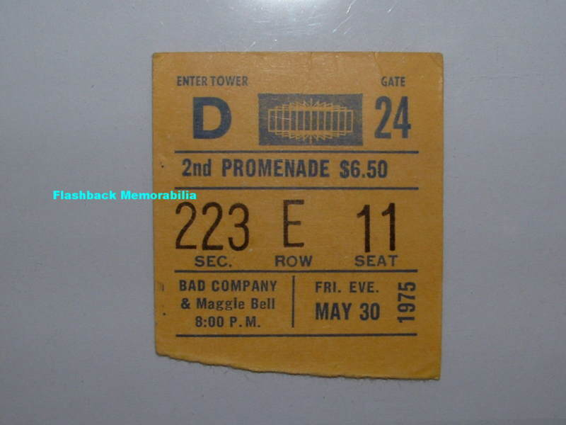BAD COMPANY 1975 Concert Ticket Stub MSG NY Very Rare PAUL RODGERS Firm FREE