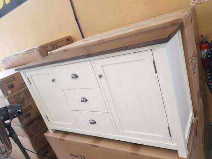 NEW IN BOXES! 2 door 3 drawer Brighton buffet unit! white timber