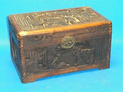 MID CENTURY CHINESE HIGH RELIEF WOOD CARVING CAMPHOR CHEST BRASS FITTING 古董 樟木盒