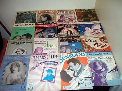 16 early movies & silent films & stars lot Beggars Of Life sheet  music