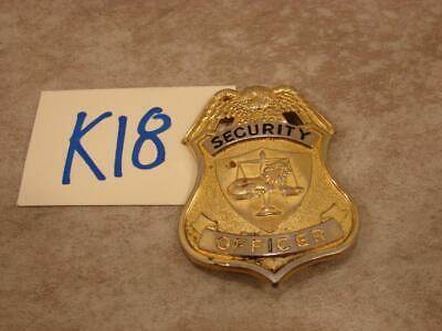 K18b Vintage Gold Tone Security Officer Badge